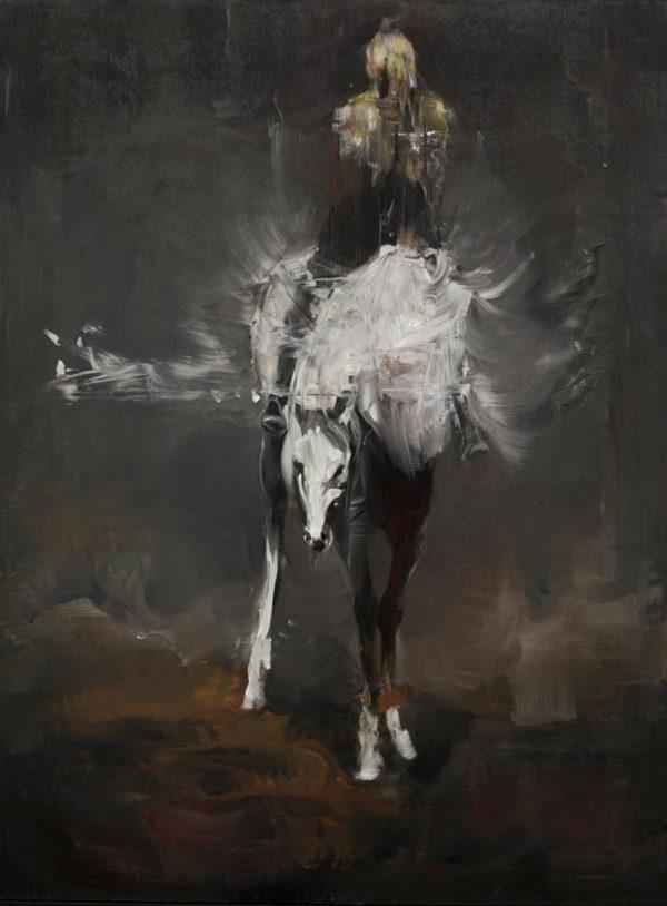 Autoritratto come Bellerofonte. Cavalcando Pegaso.  2019, cm 123x92, oil on cotton paper applied on aluminum.
