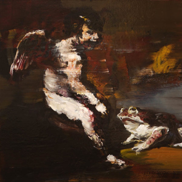 Conversazione tra il piccolo satiro e il grande rospo.  2019, cm 40x40, oil on wood.
