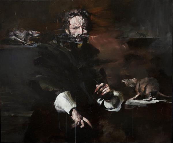L'aggressione. 2019, cm 100x120, oil on canvas.