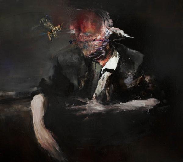 La grande vespa svela il segreto della consapevolezza totale. Autocombustione dell'astante. 2019, cm 60x70, oil on canvas.