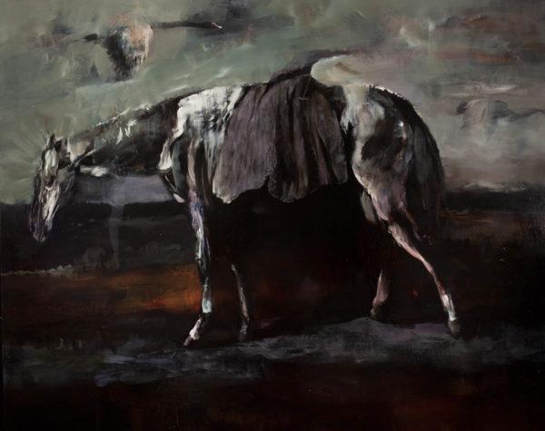 Terzo passaggio orizzontale. Cavalcando senza corpo.  2019, cm 120x150, oil on canvas.