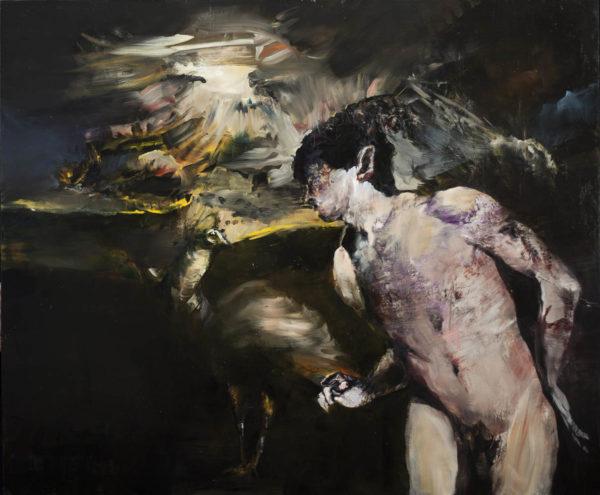Ultimo dialogo tra il pavone e il fauno durante l'esplosione della stella. 2019, cm 100x120, oil on canvas.